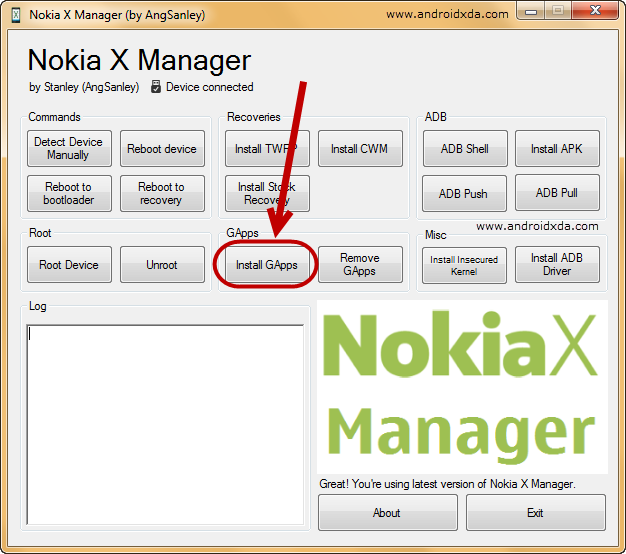 Nokia-X-Manager-Device-Install-Gapps