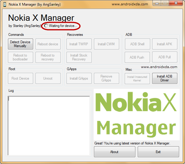 Nokia-X-Manager-Waiting-for-Device..