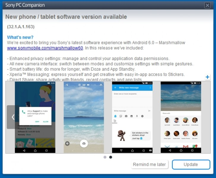 Sony PC companion Sony Z5 android M update
